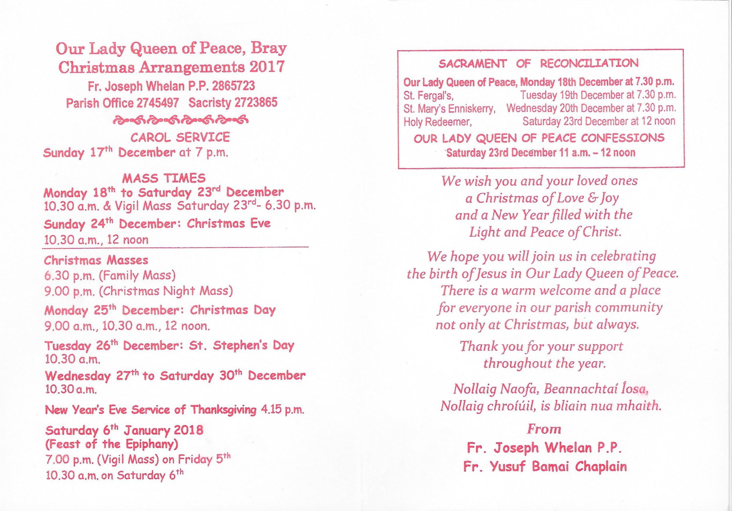 Christmas Mass Times 2017